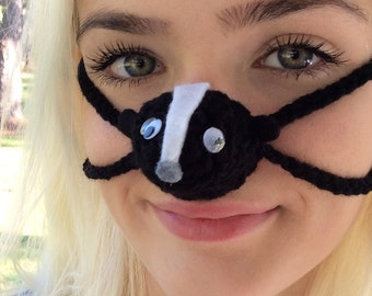 Silly Skunk Nose Warmer, Nose Cozy, Nose Mitten, Unisex, Teen, Teacher, Friend Gag Gift, Fun Crochet, Stocking Stuffer, Dirty Santa, Party