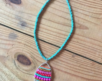 Summer Brights- beaded pendant on braided turquoise cording