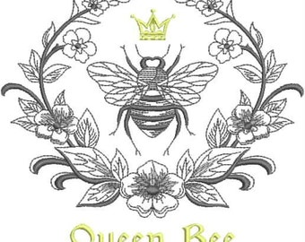 Embroidered Hand Towel or DishTowel - Queen Bee