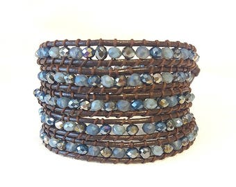five wrap blue mix bracelet