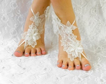 Wedding Shoes for Bride, Anklet Foot, Anklet Sandals, Lace Sandals, Bridal Sandals, Bridesmaid sandals, Beach Wedding Shoes