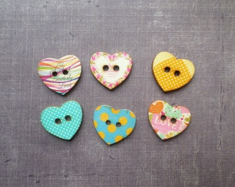 20 boutons bois Forme Gros Coeur Love Pois
