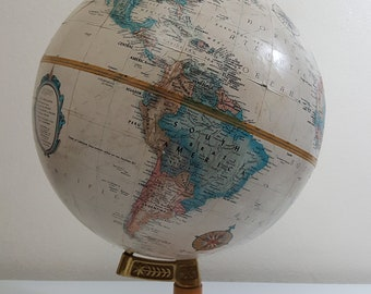 Vintage 1980s Repogle Globe on wooden stand