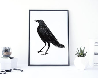 Crow Painting, Crow Art, Animal Watercolor Prints, Raven Painting, Bird Wall Art, Watercolor Print, Raven Art, Black Crow Decor, Black bird