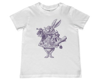 Child Alice in Wonderland Original Illustration White Rabbit TShirt - color choice, personalization available - youth sizes xs, s, m, l, xl