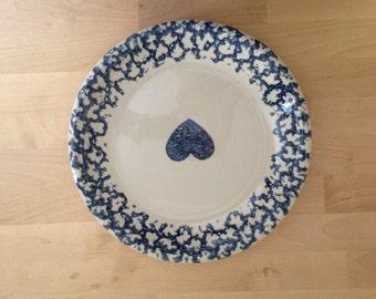 Blue Heart Spongeware Plate