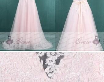 Blush Pink Wedding Dress,Lace Tulle Bridal Dress,Tulle Wedding Dresses,Beaded Belt Wedding Dress,Elegant Sheer Back Wedding Dress 2018