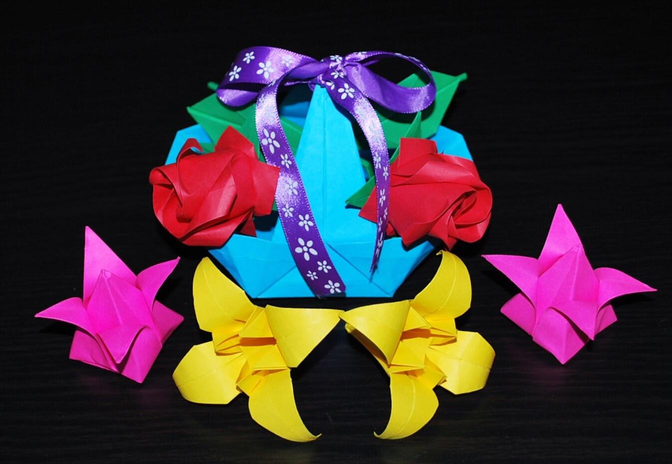 Origami Flowers Flower Basket Origami Roses Lilies