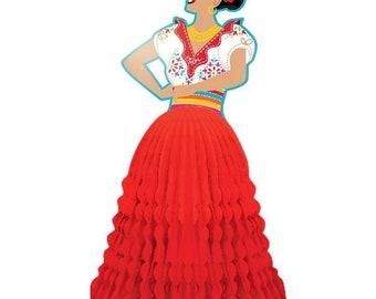 Colorful 11 Inch Senorita Fiesta Honeycomb Table Decoration - Fun Party Decor!