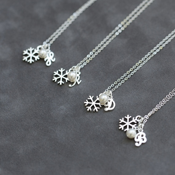 Bridesmaid Jewelry Set of 5 Winter Wedding Snowflake