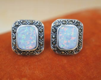 "Sterling Silver Pierced Earrings - Opal & Marcasite - Marked ""CFJ"" - 925 Sterling Setting - Post Style Pierced Earrings - 9/16"" x 1/2"""