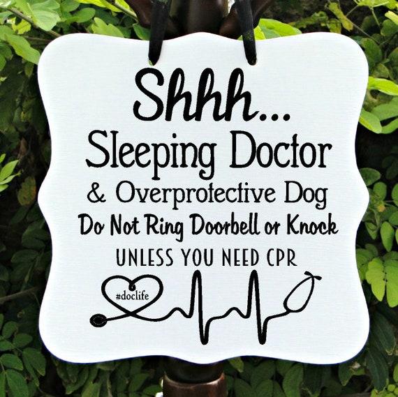 Shhh Sleeping Doctor Sign, Overprotective Dog, Do Not Ring Doorbell, Front Door, Door Sign, Sleeping Sign, Night Shift, Physician, Doc Sign