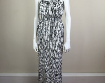 black & white zig-zag crepe maxi sundress 70s