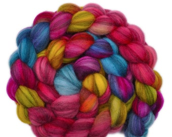 Hand dyed roving - Merino Humbug wool combed top spinning fiber - 4.0 ounces - In the Mood 1