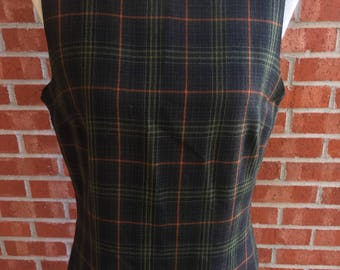 Vintage Breeches preppy green and orange plaid sleeveless, knee length dress. Size 12