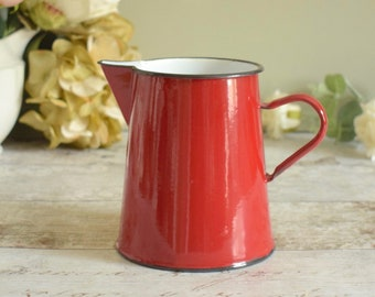 Red enamel jug/pitcher