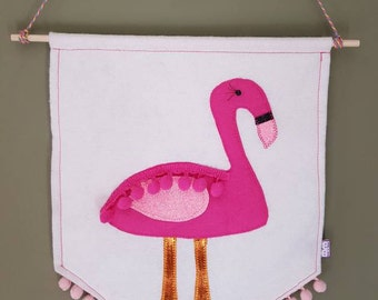 Flamingo flag - flamingo pennant - flamingo decoration