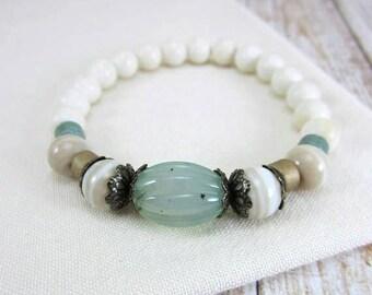 Mint Bracelet, Seafoam Green Bracelet, Boho Bracelet, Stretch Bead Bracelet, Seafoam Green Jewelry, Gifts Under 20