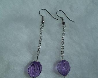 Purple Pearl chain earrings