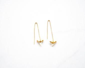 24k Gold Dipped Shark Tooth Threader Earrings
