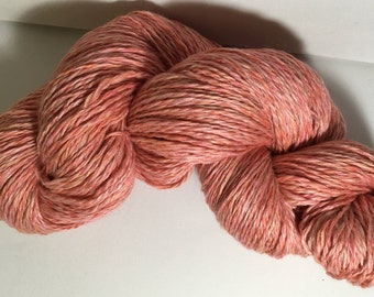 Organic Merino A1 Mulberry silk, handspun luxury wool yarn limited edition colour Candy floss Peaches and pinks, approx 4ply 494 yards 167g