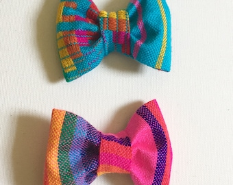 2 Pack Mexican Cambaya Bow tie fabric, Clip-on tie