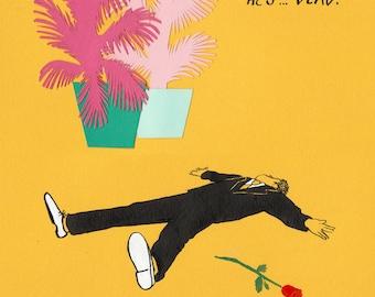 "Original Art, Collage Drawing, Murder Mystery ""He's Dead!"""