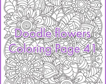 COLOURING PAGE doodle flowers, printable adults, digital PDF, zentangle inspired, doodling, intricate patterns.