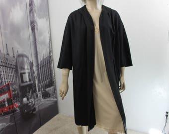 Vintage Black Coat 1950s Size Small/Medium Swing Style