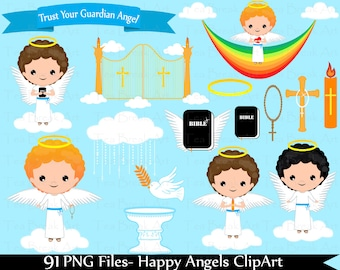 Happy Angels Boys ClipArt- Digital Clip Art Graphics for Personal/Commercial Use(035)