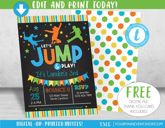 Boy Jump Birthday Invitation, Trampoline Party Invite, Bounce House Birthday Invitations, Instant Download, Edit Yourself DIY Templett