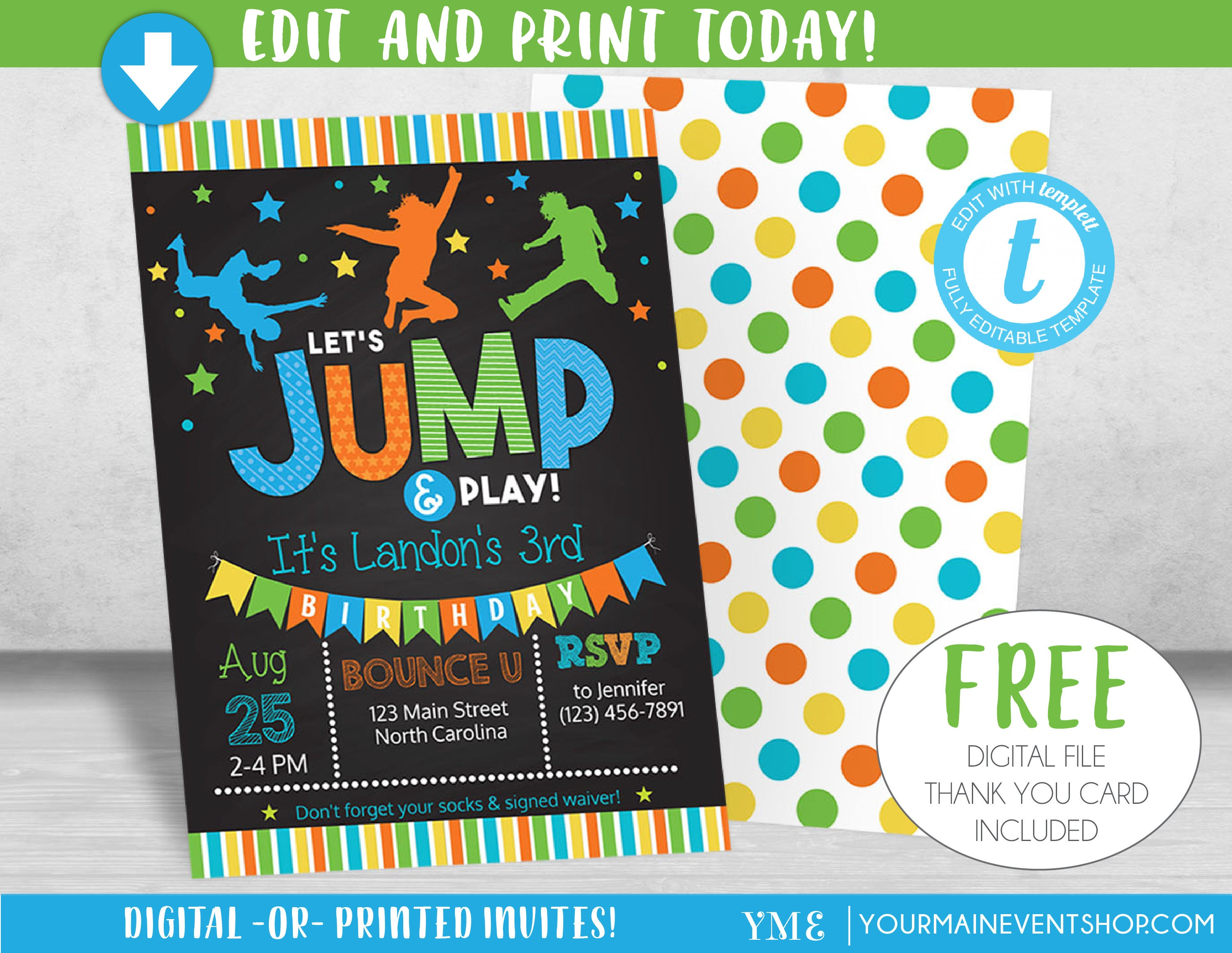 Boy Jump Birthday Invitation Trampoline Party Invite Bounce