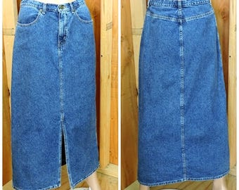 Denim maxi skirt S 5 / 6 / blue jean skirt  / Eddie Bauer vintage 90s long denim pencil skirt
