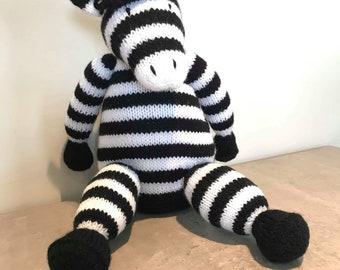 Ziggy The Zebra, Hand knitted Nursery Accessory, Children's Nursery, Knitted Animals