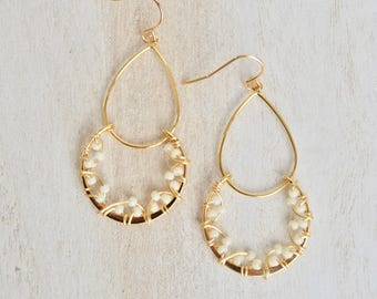 Ivory and Gold Double Hoop Earrings