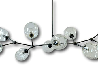 10 Globe Hand Blown Glass Staccato Branch Chandelier Hanging Light Sculpture