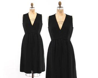 Vintage 60s CEIL CHAPMAN DRESS / 1960s Black Rayon Cocktail Dress with Plunging Neckline M