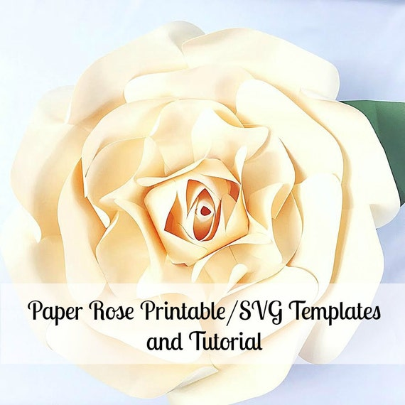 Large Paper Flowers, Giant Paper Flowers, Printable Rose Template ...