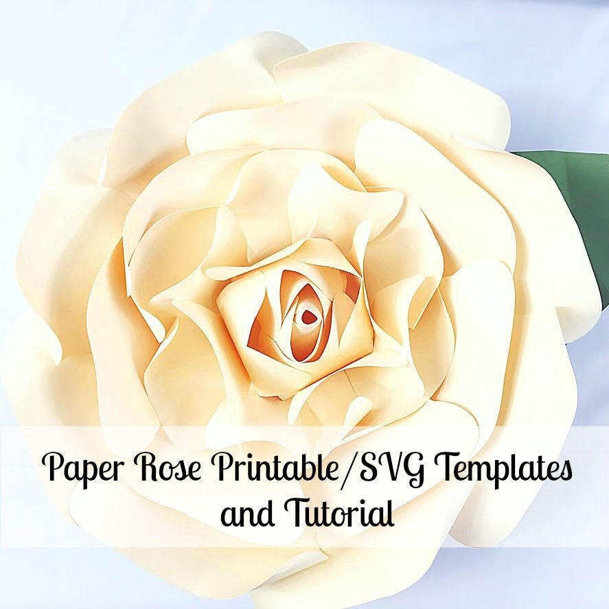 Large Paper Flowers Giant Paper Flowers Printable Rose