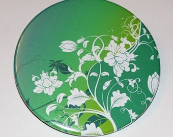 Green Flowers Large Pocket Mirror 3 1/2 inch