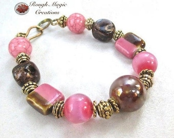 Pink & Brown Bracelet, Colorful Two Tone Czech Glass, Pink Cats Eye Jewelry, Antique Brass, Boho Gift for Women, Eclectic Style for Her B264