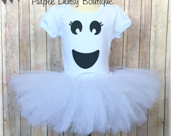 Ghost Costume - Ghost Tutu Costume - Girls Ghost Halloween Costume - Ghost Face Shirt and White Tutu