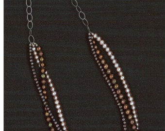Three Strand Freshwater Pearl Necklace Handmade by Chris Hay