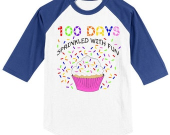 100th Day of School Raglan T Shirt - 100 sprinkles - 100 days sprinkled with fun - Celebrate 100 days of school!!