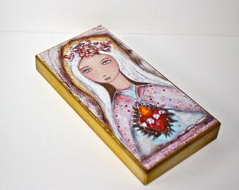 Heilige Liebe - Giclee Drucken auf Holz (3 x 6 Zoll) Volkskunst von FLOR LARIOS