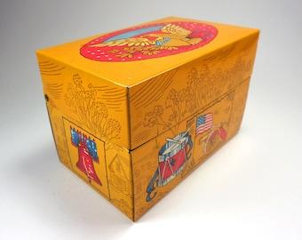 Vintage Recipe Tin Box, Bicentennial, Eagle, American Flag, Drum, Canon, 1776-1976, Recipe Organizer