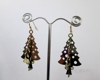 Metal Sculpture Gold Pine Tree Earrings Christmas Tree Earrings Festive Earrings Woodland Earrings Xmas Tree Earrings Xmas Gift Under 25