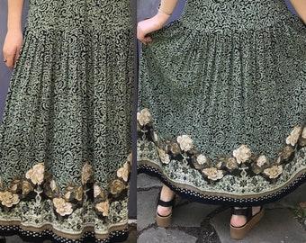 cream roses skirt . 90s boho skirt . green boho skirt