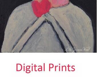 Woman Portrait Painting Print. Pink Heart Love Print. Home Wall Art Decor. Valentine's Day Gift for Friend. Miz Katie Art