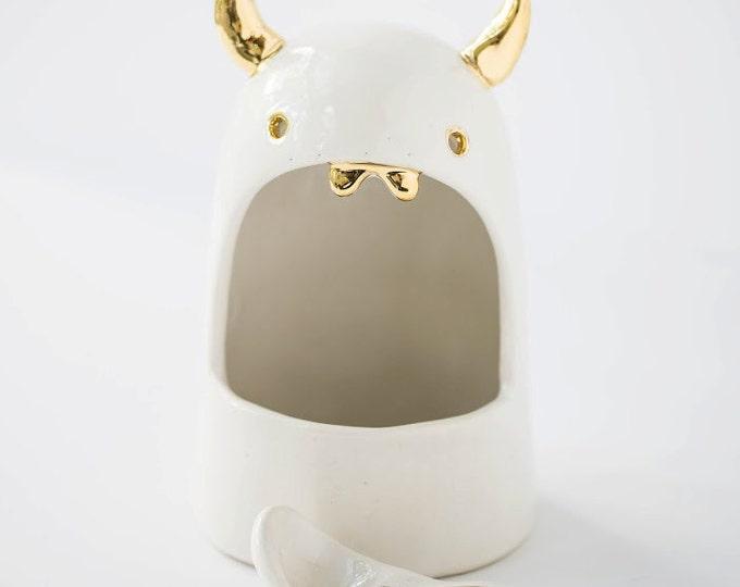 Lil Devil Salt Monster Ceramic Salt Cellar Sculpture Larger Size Foodie Fun Unique Kitchen Ware MADE TO ORDER